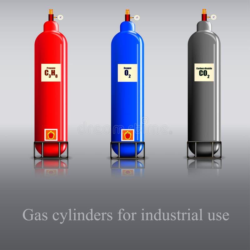 Gasflessen voor industrieel gebruik stock illustratie