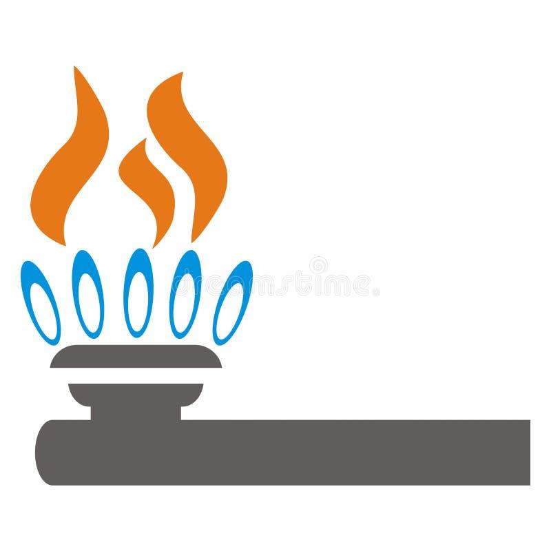 Gasfornuis, oranje vlam, vectorpictogram vector illustratie