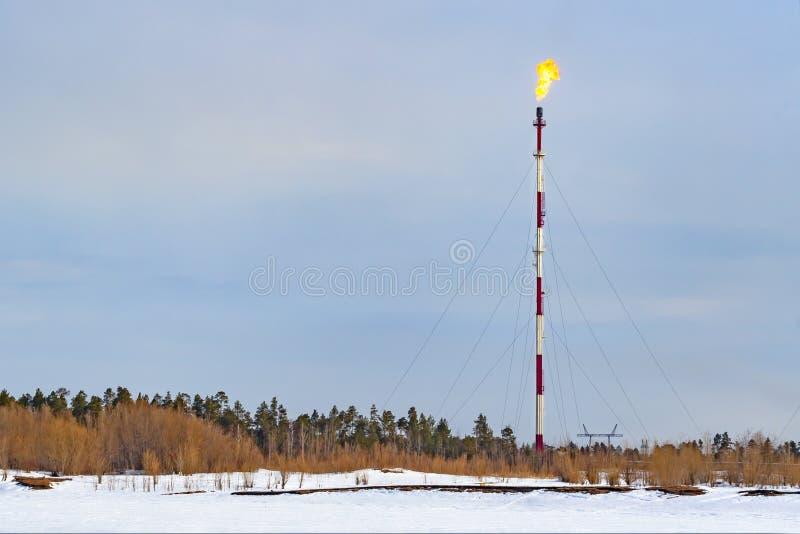 Gasgasbrännare på ett högt rör på en gasbearbetningsanläggning arkivbild