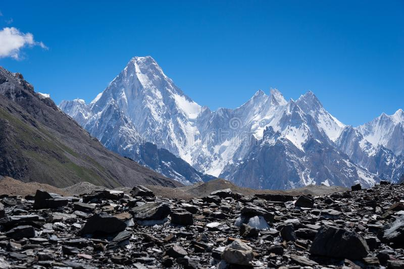 Gasherbrum mountain massif in Karakoram range, K2 trek, Pakistan. Asia stock photo