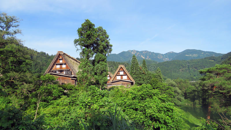 Gasho房子在白川町在日本进来 免版税图库摄影