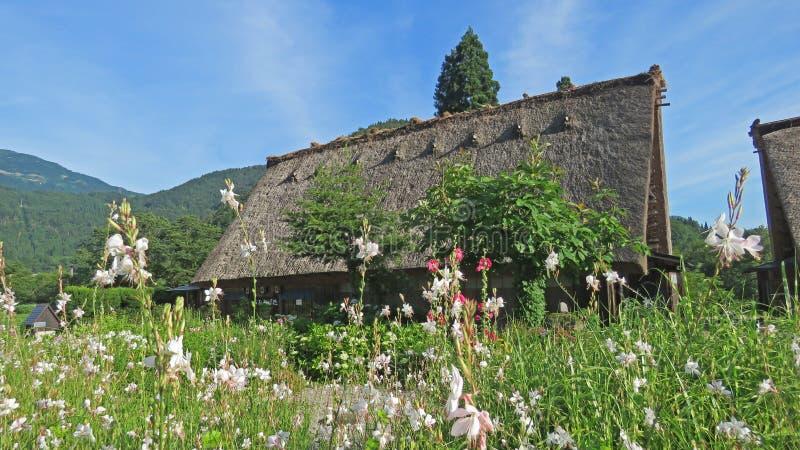 Gasho房子在白川町在日本进来 免版税库存照片