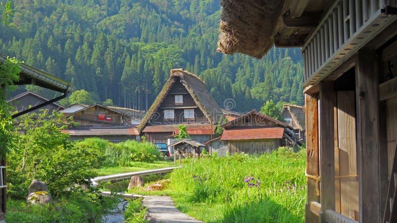 Gasho房子在白川町在日本进来 免版税库存图片