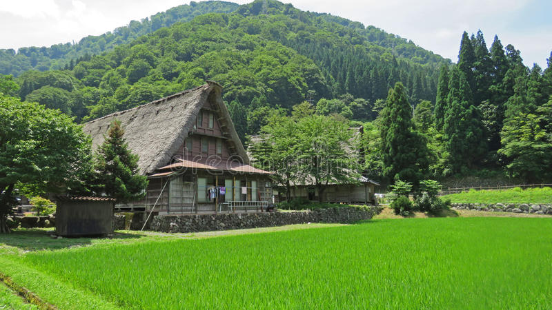 Gasho房子在Gokayama在日本 库存图片
