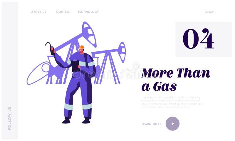 Gasista perto da estação da facilidade do gás na página da aterrissagem da planta Homem do trabalhador no uniforme com trabalho d ilustração stock