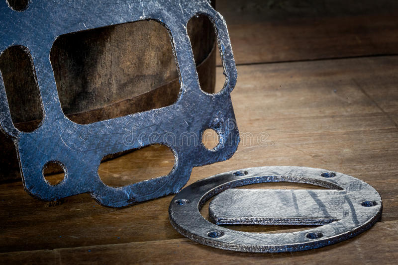 Gasket and flanges for mechanical seal. Gasket, mechanical seal which fills the space between two or blackberries mating surfaces, to prevent leakage of objects royalty free stock image