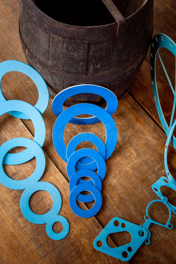 Gasket and flanges for mechanical seal royalty free stock photo