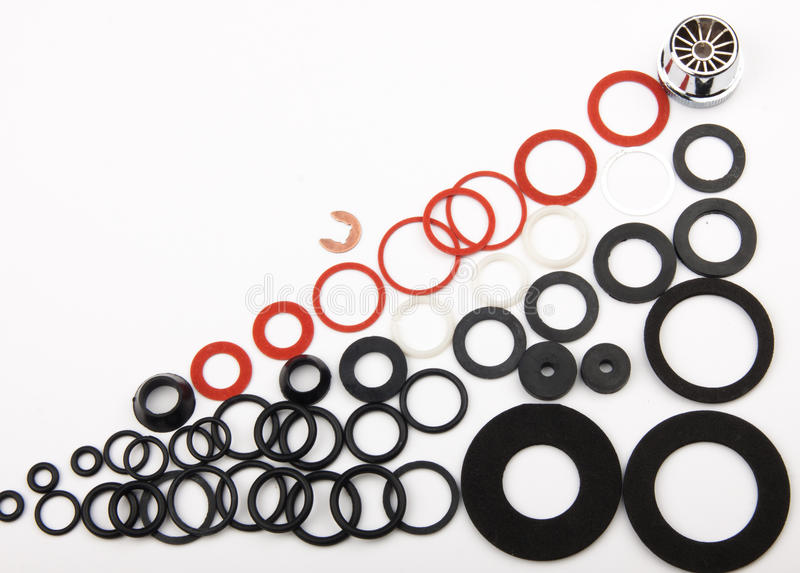 Gaskets. For repair of water cranes royalty free stock photos