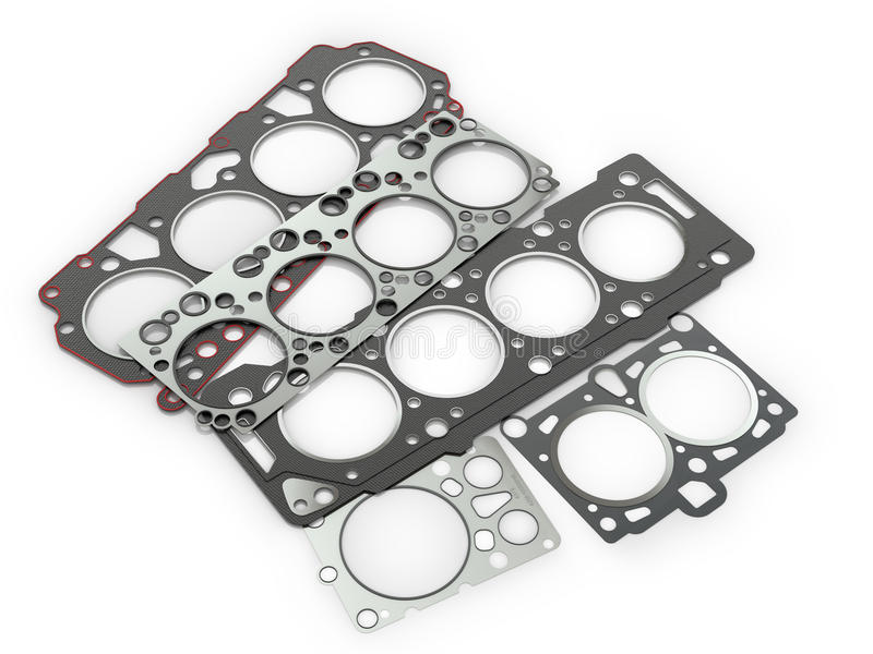 Gaskets for cylinder car engine stock photo