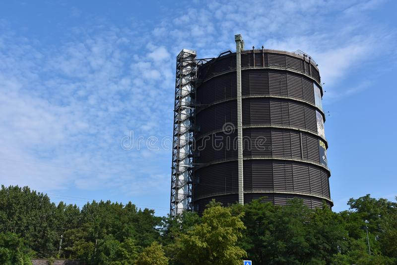 Gasklocka i Oberhausen, Ruhr Valley, Tyskland arkivbild