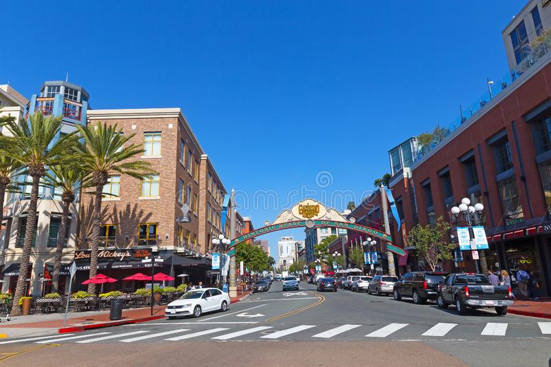The Gaslamp Quarter in San Diego, California USA. stock images
