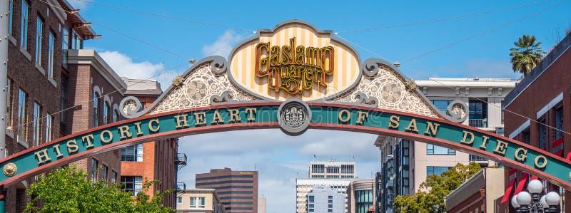 Gaslamp Quarter in San Diego Downtown - CALIFORNIA, USA - MARCH 18, 2019 stock photo