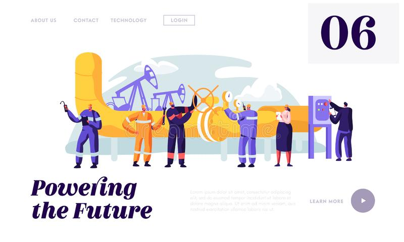 Gasman Service Pipeline at Plant Landing Page. Engineer Control Pipe and Manometer. Woman Work at Gas Industry. Man Engineering with Spanner Website or Web royalty free illustration
