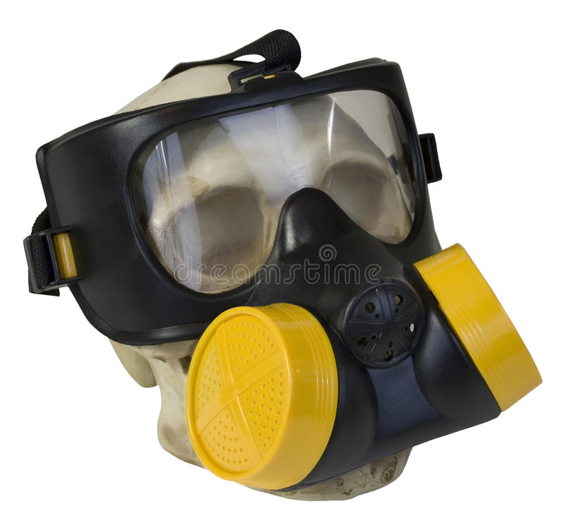 Gasmask på skallen royaltyfri foto
