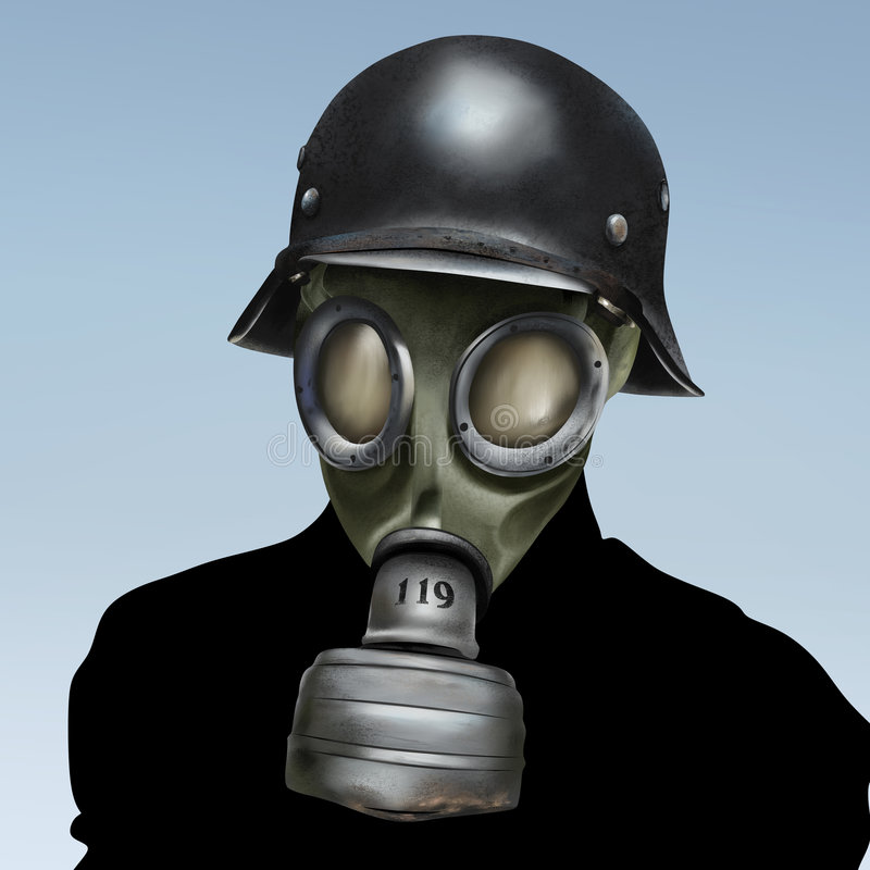 gasmask ww2 stock illustrationer