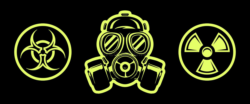 Gasmaske und Gefahr singt respirator Ein Vektor Biohazard Zeichen lizenzfreie abbildung