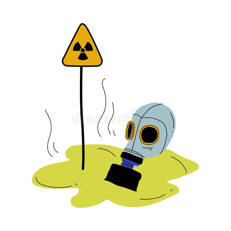 Gasmaske und Warndreieck-Zeichen der Strahlungs-Gefahr, globales ökologisches Problem, Umweltverschmutzung durch Chemikalien vektor abbildung