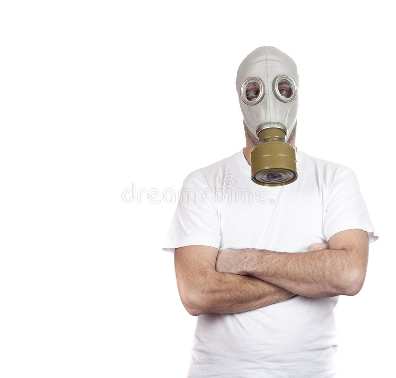 Gasmaskegefahr stockfoto