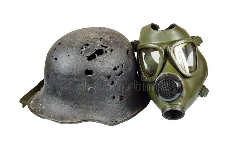 Gasmasker en helm royalty-vrije stock foto