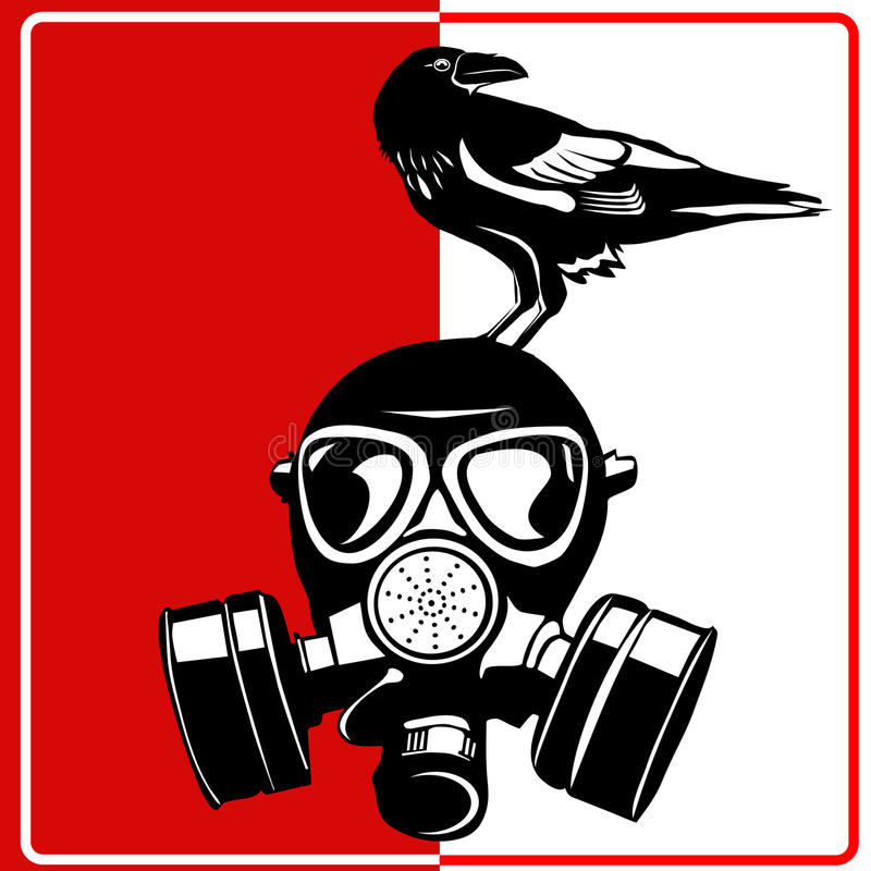 Gasmasker - industrieel biogevaar royalty-vrije illustratie