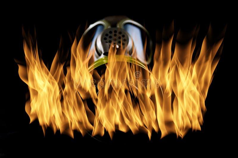 Gasmasker op brand royalty-vrije stock foto