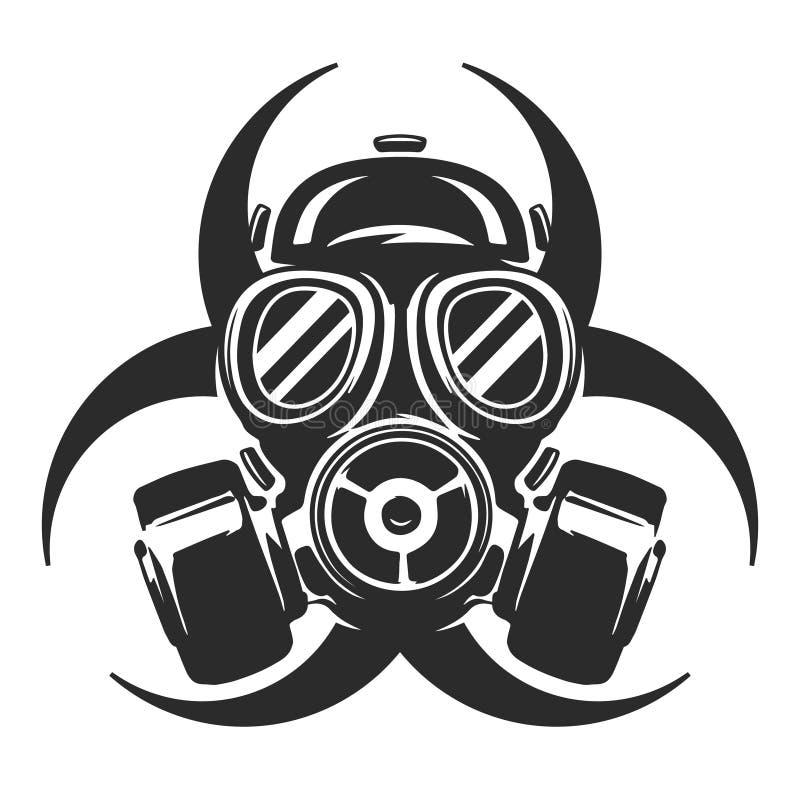 Gasmasker vectorillustratie ademhalingsapparaat Biologisch gevaar royalty-vrije illustratie