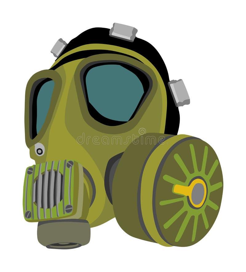 Gasmaskerillustratie op witte achtergrond wordt geïsoleerd die Biogevaarmateriaal tegen luchtverontreiniging stock illustratie