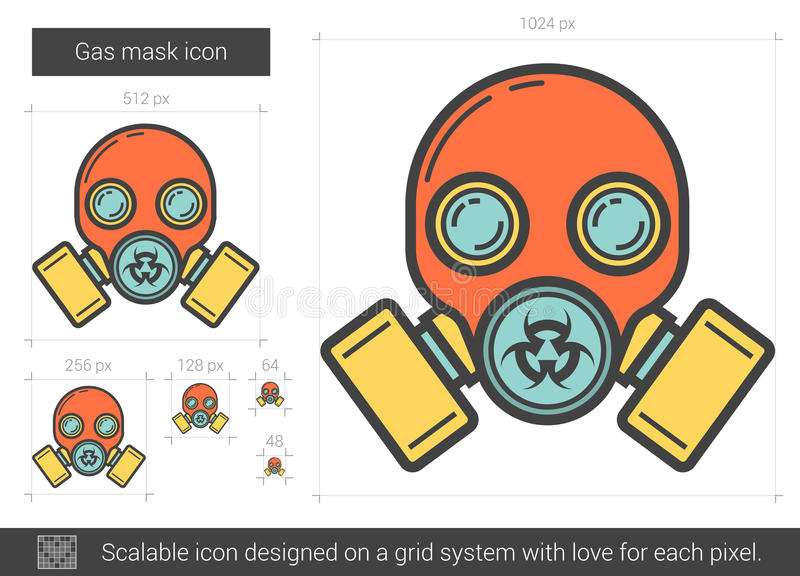 Gasmasklinje symbol stock illustrationer