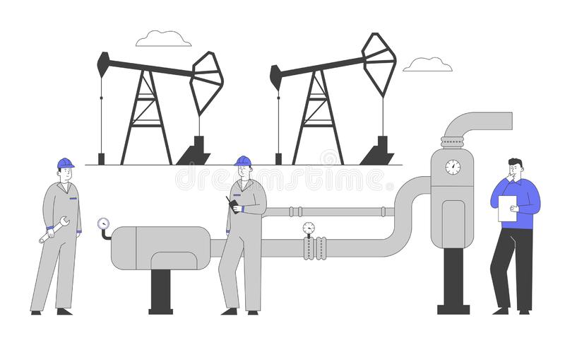 Gasmen und Ingenieur stehen in der Nähe des Tankstellenstandes in Betrieb Arbeitnehmer in gleicher Beschäftigtenzahl und in der G lizenzfreie abbildung