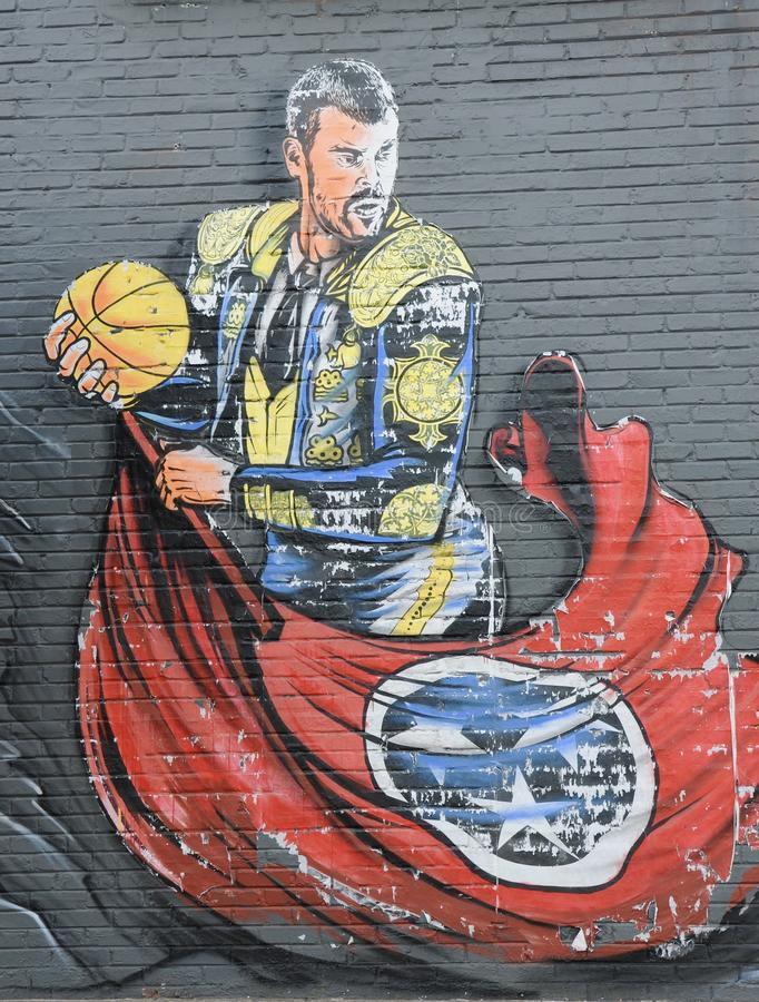 Gasol, Marc of the NBA Memphis Grizzlies. The Matador painting of Marc Gasol a member of the National Basketball Associations Memphis Grizzlies stock photography