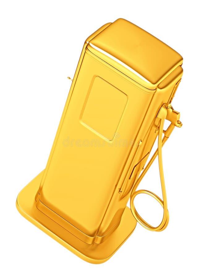 Gasolina costosa: surtidor de gasolina de oro aislado libre illustration