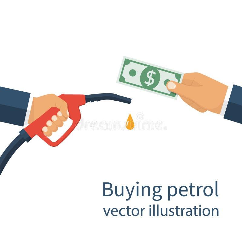 Gasolina de compra, concepto stock de ilustración