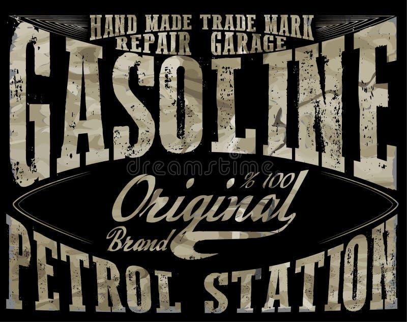 Gasolina del vintage, impresión auténtica del ejemplo del vector de la bomba de gas V ilustración del vector