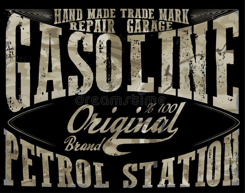 Gasolina do vintage, cópia autêntica da ilustração do vetor da bomba de gás V ilustração do vetor