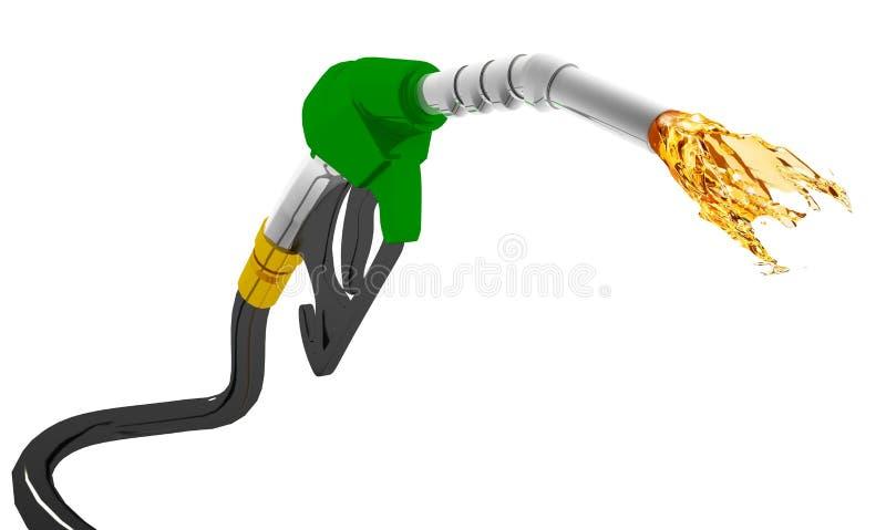 Gasolina que dice con excesiva efusión hacia fuera de la bomba aislada en el fondo blanco libre illustration