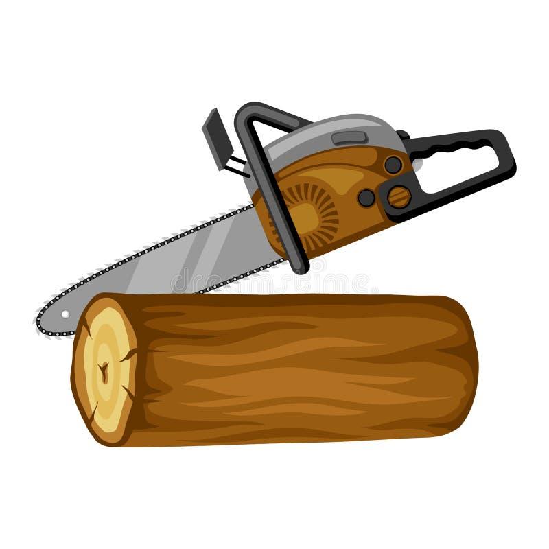 A gasolina viu e o log de madeira Ilustração para a silvicultura e a indústria da madeira serrada ilustração do vetor