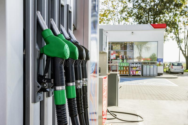 Gasoline and diesel distributor at the gas station royalty free stock image