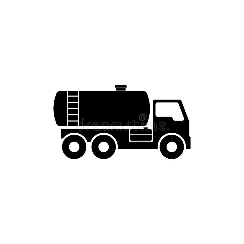 Gasoline Fuel Truck Flat Vector Icon stock illustration