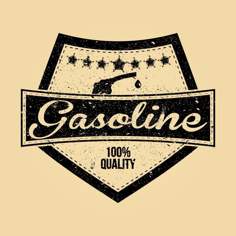 Gasoline logo. Old school cool picture, use it like logo etc stock illustration