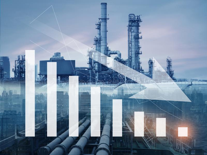 Gasoline, oil, petroleum price drop, down and decreasing with illustartion graph and oil refinery. At the background royalty free stock images