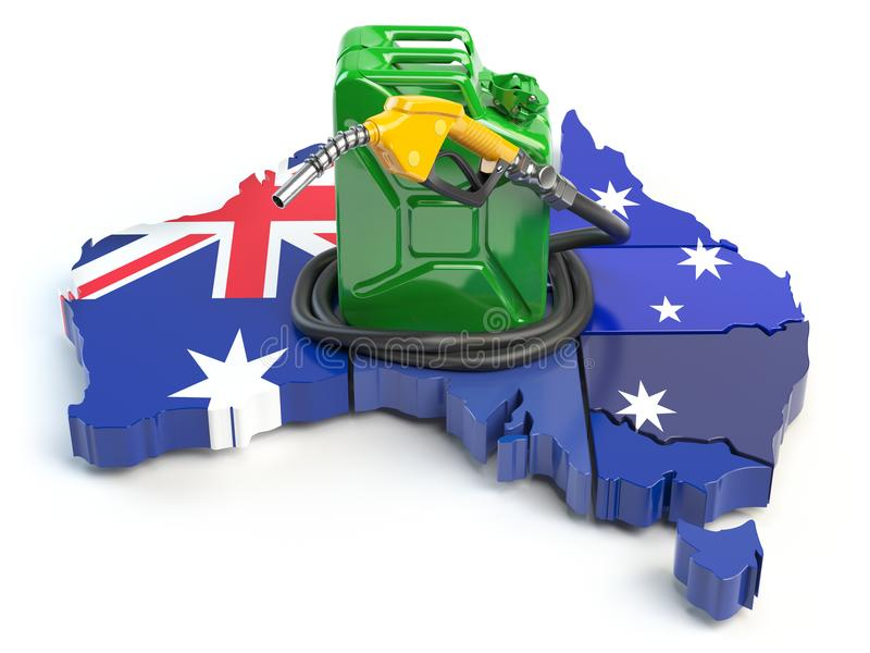 Gasoline and petrol consumption and production in Australia. Map stock illustration
