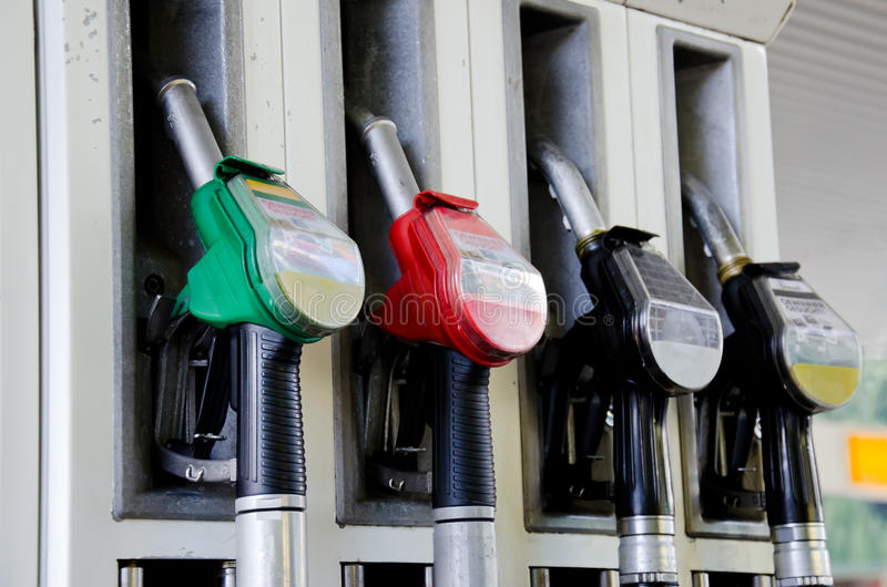 Gasoline pumps. On the petrol station stock photos