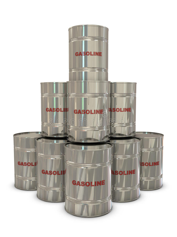 Gasoline Silver Cans In Pyramid Royalty Free Stock Images