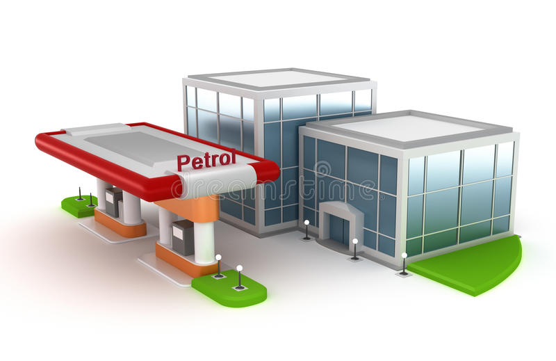 Gasoline Station And Market Royalty Free Stock Photos
