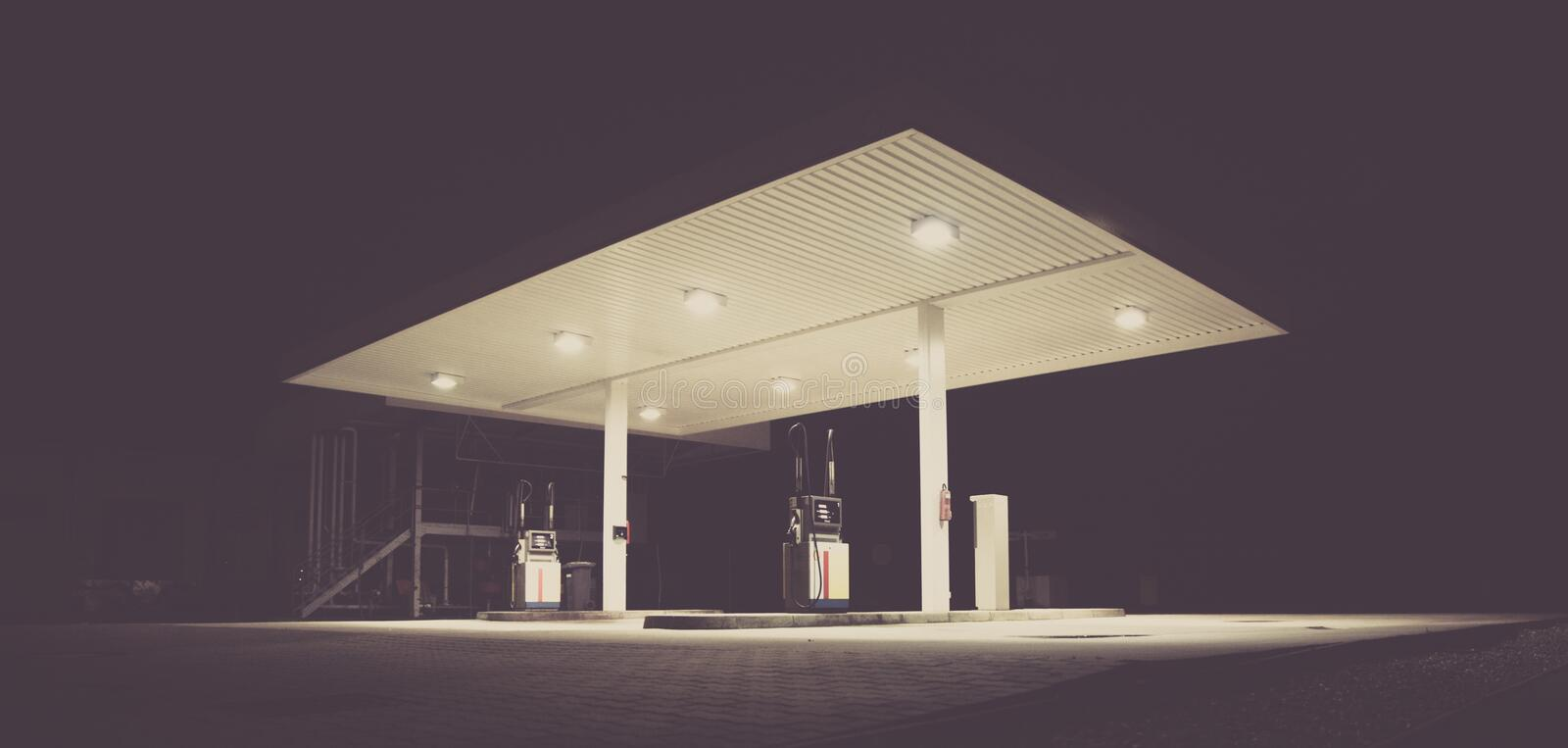 Gasoline Station During Night Time Free Public Domain Cc0 Image