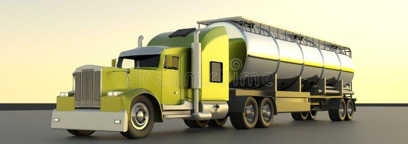 Gasoline tanker. 3d rendering. Oil trailer. Fuel gas tanker truc vector illustration