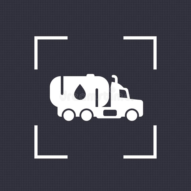 Gasoline tanker icon, truck with petroleum stock illustration