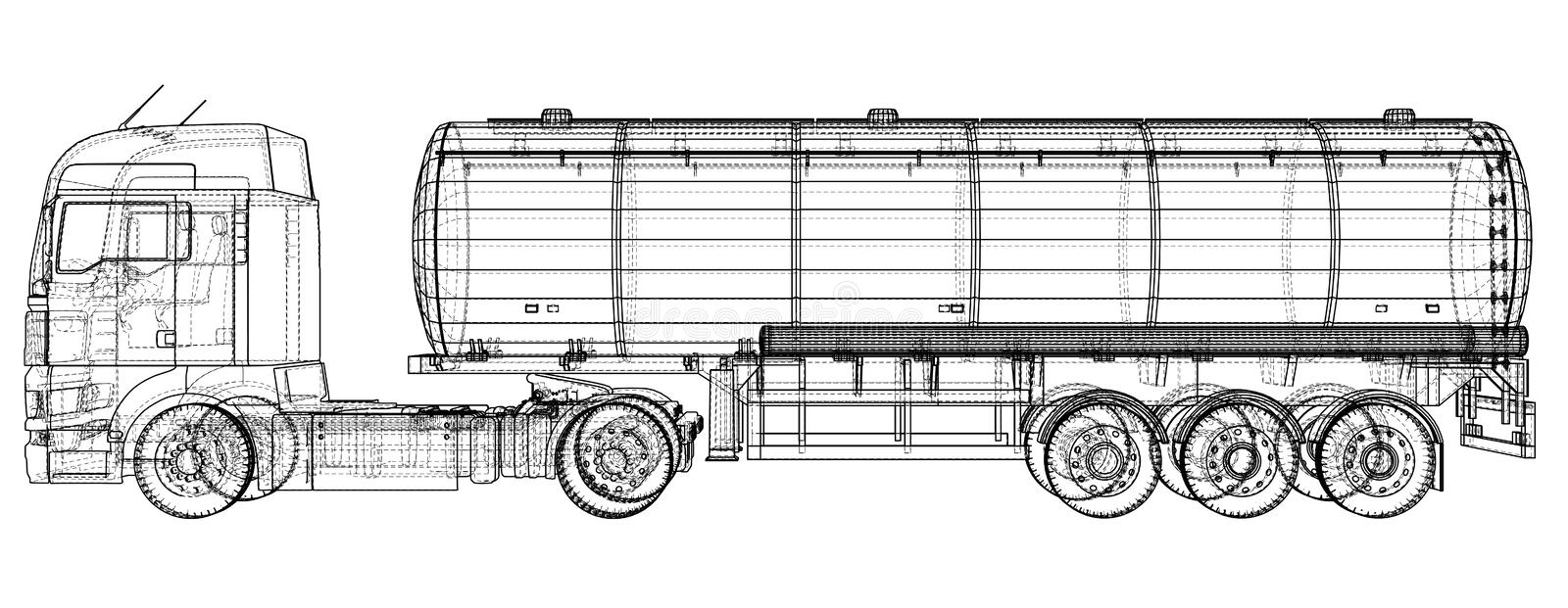 Gasoline tanker, Oil trailer, truck on highway. Very fast driving. Created illustration of 3d. Wire-frame stock illustration