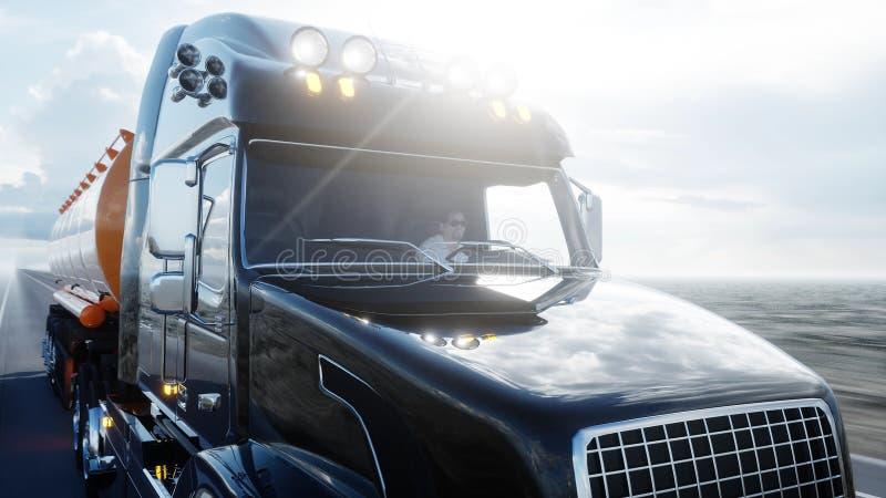 Gasoline tanker, Oil trailer, truck on highway. Very fast driving. 3d rendering. royalty free illustration