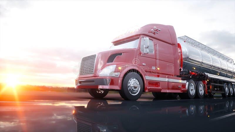 Gasoline tanker, Oil trailer, truck on highway. Very fast driving. 3d rendering. vector illustration